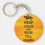Fun Keep Calm & Ride Till Dawn Horse Basic Round Button Keychain