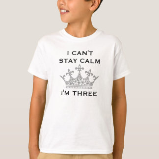 Fun Kid's 3rd Birthday I Can't Stay Calm I'm Three T-Shirt