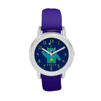 Fun kids alien blue aqua add your name wrist watch