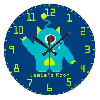 Fun kids alien blue aqua and green wall clock