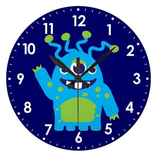Fun kids alien blue, white green wall clock