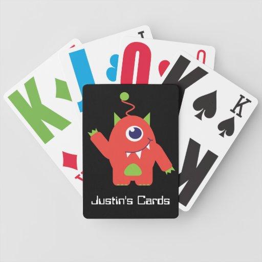 Fun kids alien named playing cards