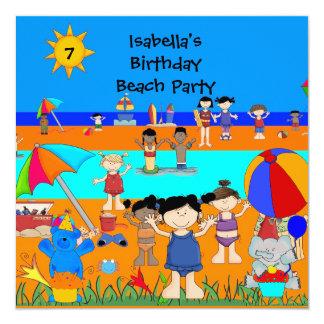 Fun Kids birthday Party Beach party Invitation