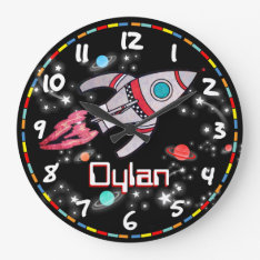 Fun Kids Boys Rocket Space Black Wall Clock at Zazzle