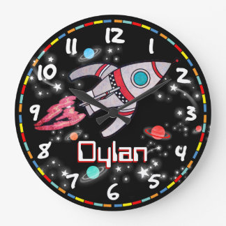 Fun kids boys rocket space black wall clock