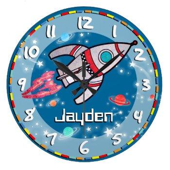 Fun Kids Boys Rocket Space Blue Aqua Wall Clock by Mylittleeden at Zazzle