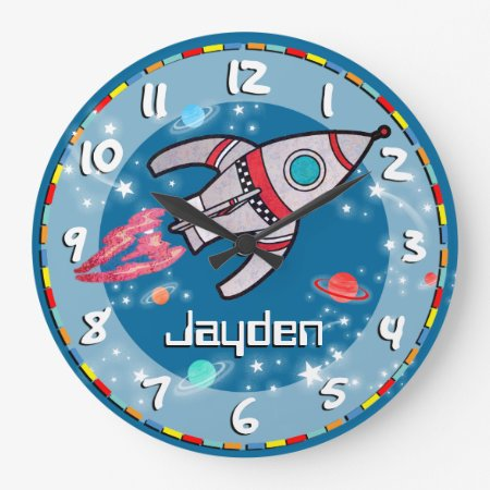Fun Kids Boys Rocket Space Blue Aqua Wall Clock