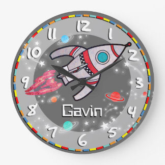 Fun kids boys rocket space grey wall clock