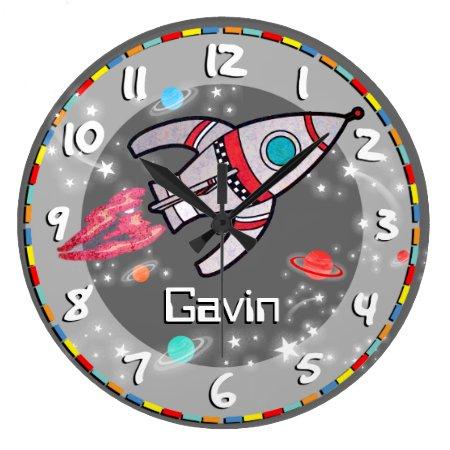 Fun Kids Boys Rocket Space Grey Wall Clock