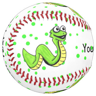Fun Kids Cartoon Bright Green Snake Polka Dots Softball