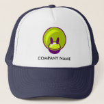 "Fun/Kids Customizable Hat<br><div class=""desc"">Customizable hat featuring a fun, semi-3D shape that represents a face (human? alien? animal? robot?) in several abstract purple and yellowy-green ovals. Ideal for businesses working with children, toys, games - anything fun! You can change the size, color, placement, and typeface of the text on this design. The image can...</div>"