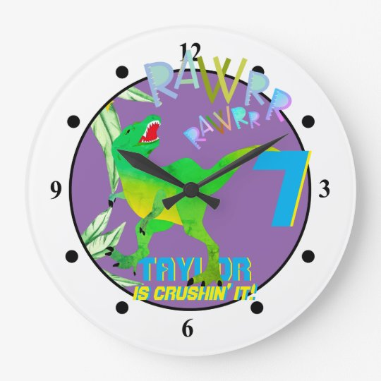 Dinosaur Dino Personalized Wall Clock Tyrannosaurus Rex Triceratops Custom New