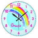 Fun kids girls rainbow name aqua pink wall clock (<em>$32.55</em>)