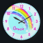 """Fun kids girls rainbow name aqua pink wall clock<br><div class=""""desc"""">Colourful kids rainbow hues graphic wall clock designed by exclusively by Sarah Trett. Customise with the short letter name of your choice,  this example reads Gracie. Would be a great personalised addition to your child&#39;s bedroom.</div>"""