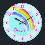 "Fun kids girls rainbow name aqua pink wall clock<br><div class=""desc"">Colourful kids rainbow hues graphic wall clock designed by exclusively by Sarah Trett. Customise with the short letter name of your choice,  this example reads Gracie. Would be a great personalised addition to your child&#39;s bedroom.</div>"
