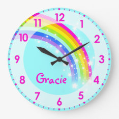 Fun Kids Girls Rainbow Name Aqua Pink Wall Clock at Zazzle