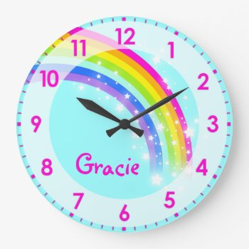 Fun Kids Girls Rainbow Name Aqua Pink Wall Clock by Mylittleeden at Zazzle