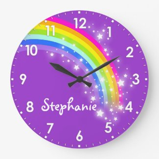 Fun kids girls rainbow name purple wall clock