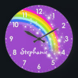 """Fun kids girls rainbow name purple wall clock<br><div class=""""desc"""">Colourful kids rainbow hues graphic purple wall clock. Customise with the name of your choice,  this example reads Stephanie. Would be a great personalised addition to your child&#39;s bedroom. &#169; Art and design by Sarah Trett www.sarahtrett.com for www.mylittleeden.com</div>"""