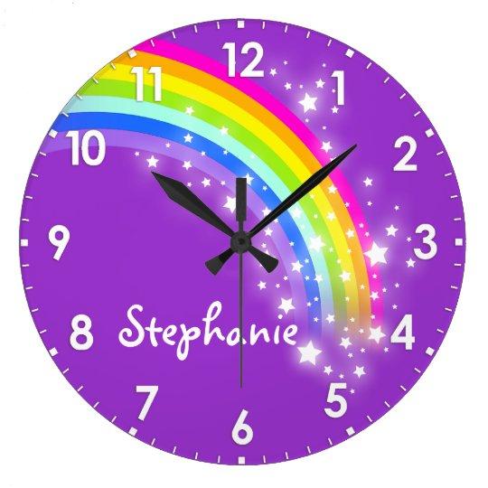 Fun Kids Girls Rainbow Name Purple Wall Clock Zazzle Com