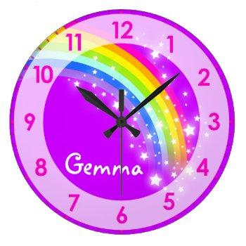 Fun Kids Girls Rainbow Name Purple Wall Clock by Mylittleeden at Zazzle