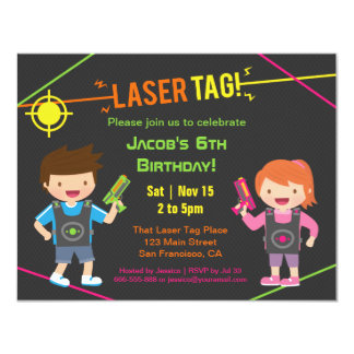 Fun Kids Laser Tag Birthday Party Invitations