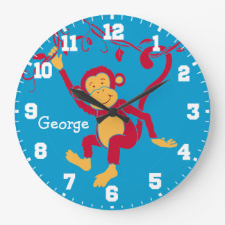 Fun kids name monkey red, blue & white wall clock