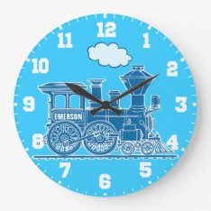 Fun kids name train blue and white wall clock at Zazzle