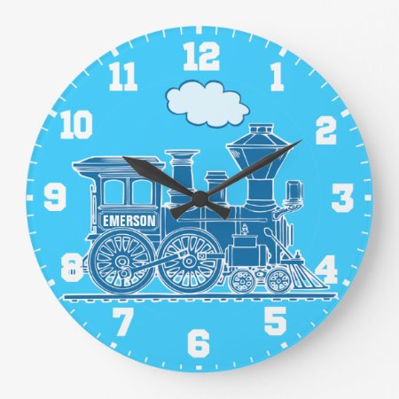 Fun Kids Name Train Blue And White Wall Clock