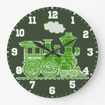 Fun Kids Name Train Green And White Wall Clock by Mylittleeden at Zazzle