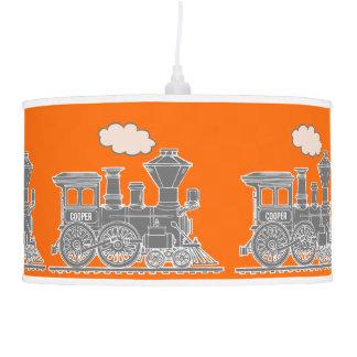 Fun kids name train orange and grey lamp shade