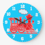 Fun kids name train red and blue wall clock