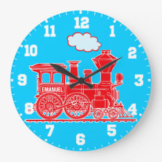 Fun Kids Name Train Red And Blue Wall Clock at Zazzle