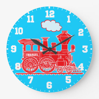 Fun kids name train red and blue wall clock