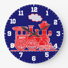 Fun kids name train red and navy blue wall clock at Zazzle