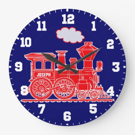 Fun Kids Name Train Red And Navy Blue Wall Clock