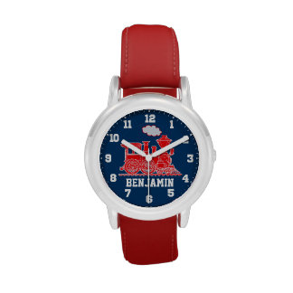 Fun kids named red blue train wrist watch
