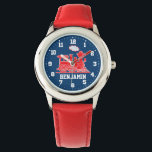 """Fun kids named red blue train wrist watch<br><div class=""""desc"""">Graphic art kids watch featuring a graphic red steam train on a dark blue background with white clock numbers. Customise with your name currently reads Benjamin.</div>"""