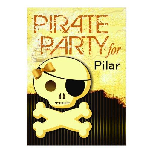 "Fun Kids Pirate Girl - ""Pirate Baby!"" Party 5x7 Paper Invitation Card"