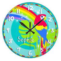 Fun kids rainbow macaw parrot name aqua wall clock