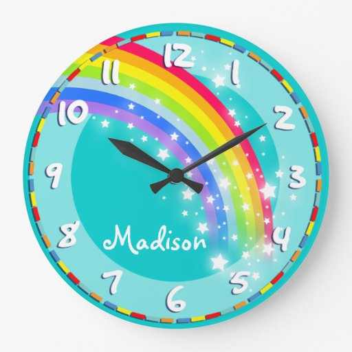 Fun kids rainbow name aqua wall clock