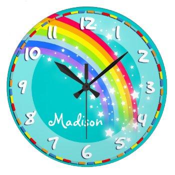 Fun Kids Rainbow Name Aqua Wall Clock by Mylittleeden at Zazzle
