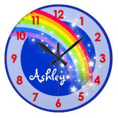 Fun Kids Rainbow Name Blue Wall Clock at Zazzle