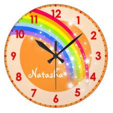 Fun kids rainbow name orange wall clock