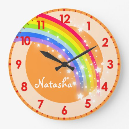 Fun Kids Rainbow Name Orange Wall Clock