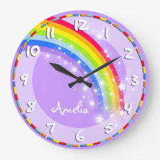 Fun Kids Rainbow Name Purple Wall Clock at Zazzle