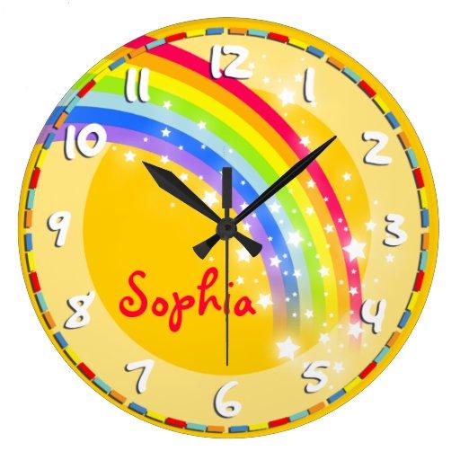 Fun kids rainbow name yellow wall clock