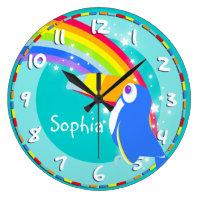 Fun kids rainbow toucan name aqua wall clock