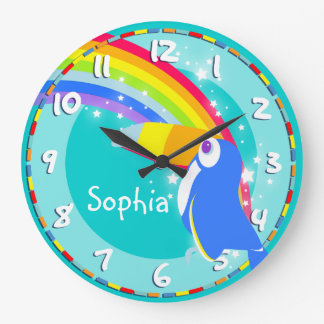 Fun kids rainbow toucan name aqua wall clock clock
