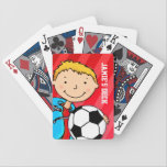 "Fun kids red soccer named playing cards<br><div class=""desc"">Fun cute kids playing card game set. A perfect gift for young soccer fans. Customise this set with your child&#39;s name. Currently reads Jamie&#39;s deck. Uniquely designed by Sarah Trett.</div>"